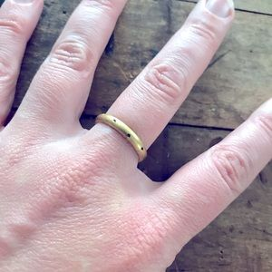 Gold tone triangle spotted stacker ring